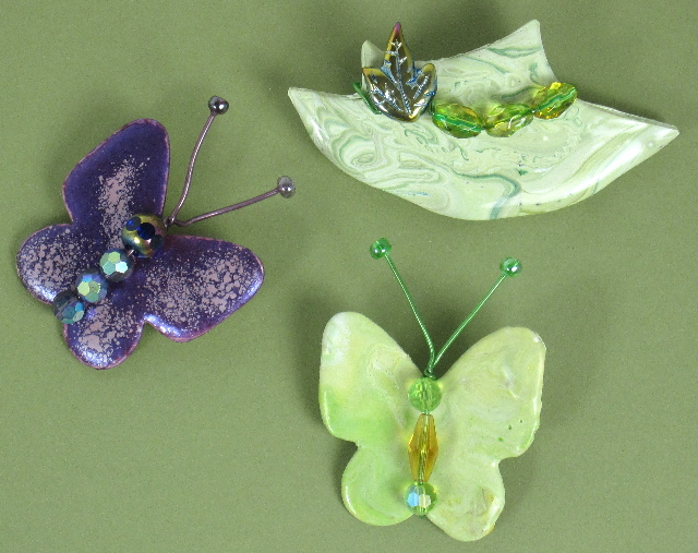 Green Hat and Butterfly Pins