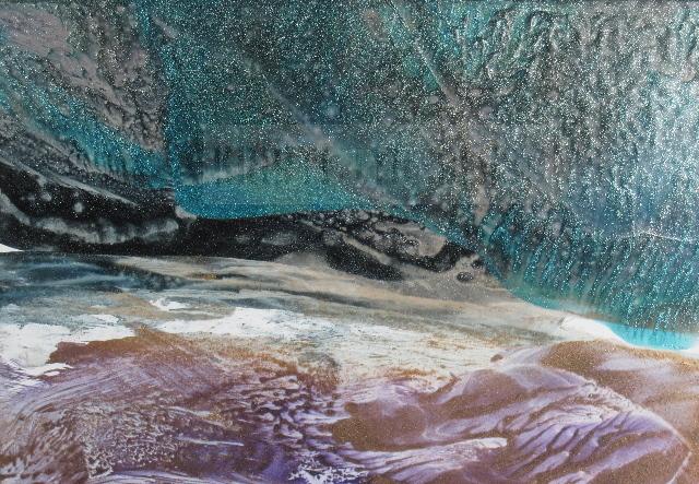 Encaustic Print--Teal or Purple Sky?
