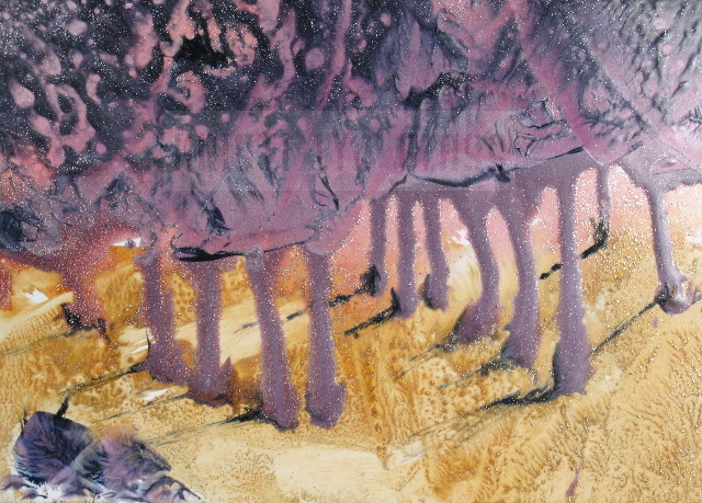 Encaustic Painting--Purple Orchard