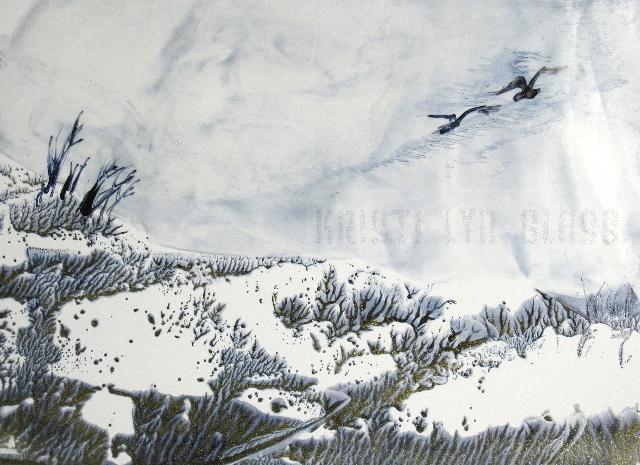 Encaustic Painting--Raptors Against Wintry Sky Over Sage