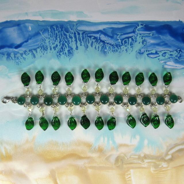 Green Onyx Leaf Bracelet