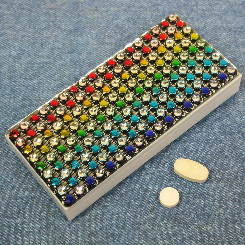 Rhinestone Rainbow Pillbox