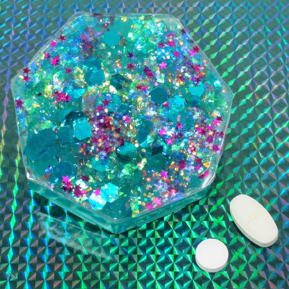 Teal Confetti Pillbox