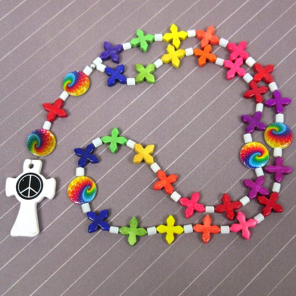 Rainbow Peace Cross Prayer Beads