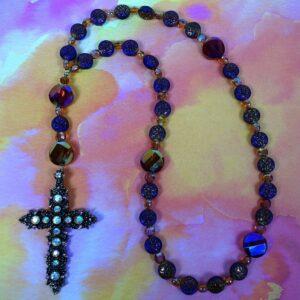 Bronzed Purple Paillettes Prayer Beads