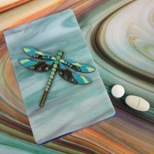 Rhinestone Dragonfly Pillbox