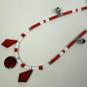 White Red Diamond Dangles Rhythm Beads-2