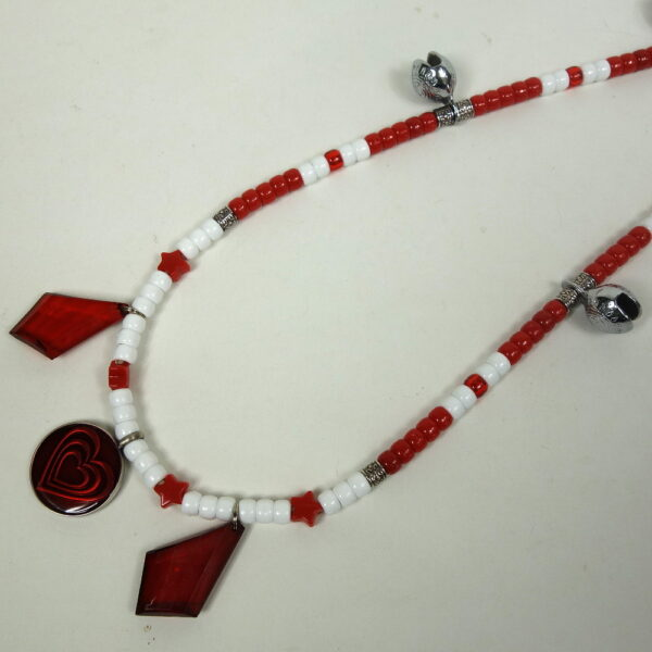 White Red Diamond Dangles Rhythm Beads-2