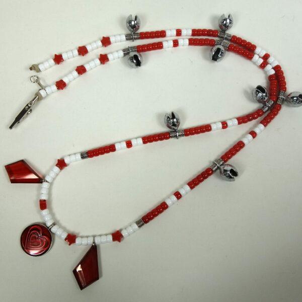 White Red Diamond Dangles Rhythm Beads