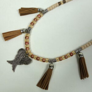 Brown Tassels Winged Heart Rhythm Beads=2