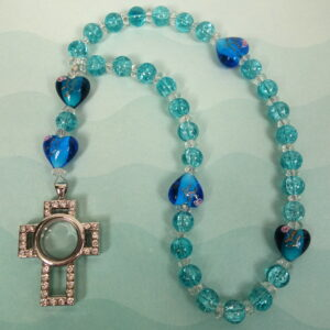 Aqua Prayer Box Cross Anglican Prayer Beads
