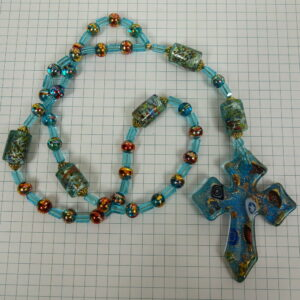 Aqua Millefiori Anglican Prayer Beads