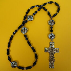 Black Golden Rhinestoned Cross Anglican Prayer Beads