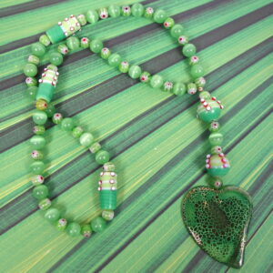 Green Millefiori Agate Heart Prayer Bead Necklace