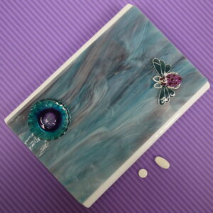 Purple Teal Bee Large 28-dose Pillbox