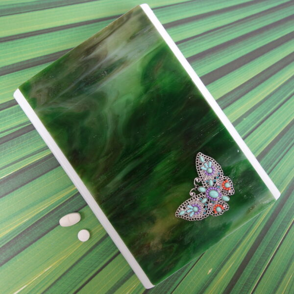 Green Waterfall Butterfly Large 28-dose Pillbox