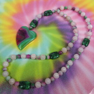 Pink Green Agate Heart Prayer Bead Necklace