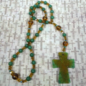 Amber Green Jade Prayer Bead Necklace