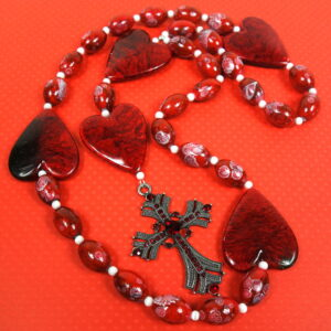 Big Red Hearts Prayer Bead Necklace