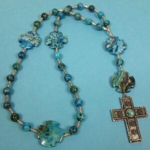Aqua Crazy Lace Agate Prayer Bead Necklace