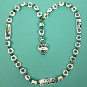 Aqua White Flowers Protestant Prayer Bead Necklace