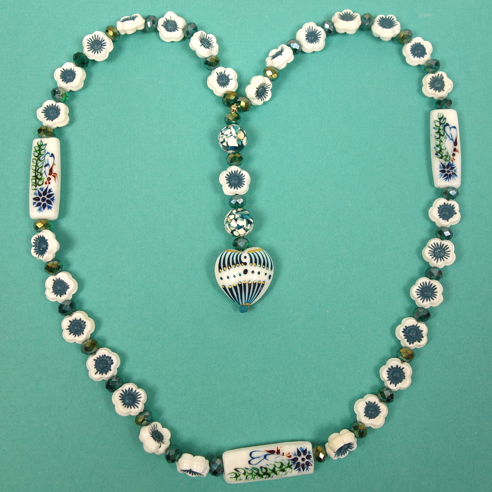 Aqua White Flowers Protestant Prayer Bead Necklace