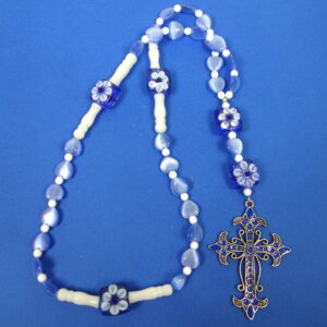Blue Hearts Protestant Prayer Bead Necklace