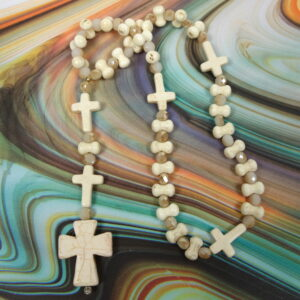 Creamy Bones N Crosses Protestant Prayer Beads