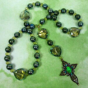 Olive Green Hearts Protestant Prayer Beads