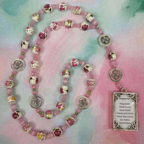 Flowered Pink Prayer Box Protestant Prayer Beads