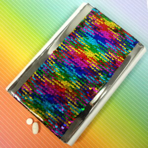 Rainbow Sequins Large 28-dose Pillbox
