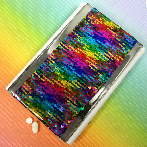 Rainbow Sequins Large 28-dose Pillbox