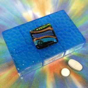 Blue Striped Dichro 7-dose Rectangle Pillbox