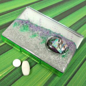 Green Purple Dichro 7-dose Rectangle Pillbox