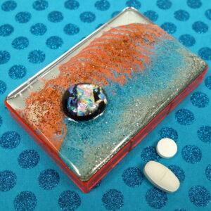 Orange Blue Dichro 7-dose Rectangle Pillbox