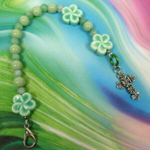 Moss Green Flowers Protestant Chaplet Bracelet