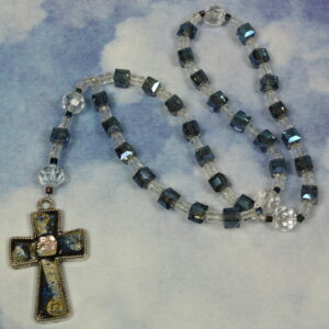 Blingy Blue Cubes Protestant Prayer Bead Necklace