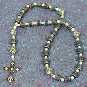Scrolled Blue Drum Prayer Bead Necklace