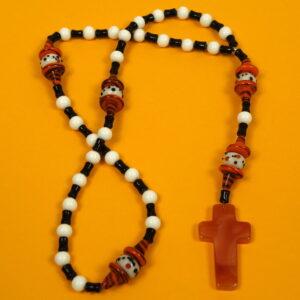 Cheeky Orange Black Prayer Bead Necklace