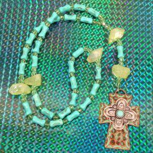 Turquoise Green Quartz Prayer Beads