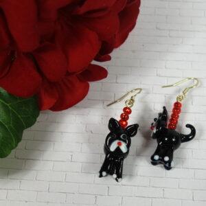 Red Black Cat Earrings