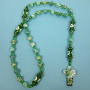 Blue Green Eyes Prayer Bead Necklace