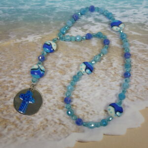 Faceted Blue Wave Prayer Beads
