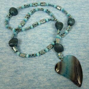 Heartfelt Blue Shells Prayer Bead Necklace