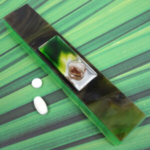 Green Mirrored Glass Large 7-dose Pillbox