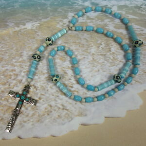 Creamy Baby Blue Prayer Bead Necklace