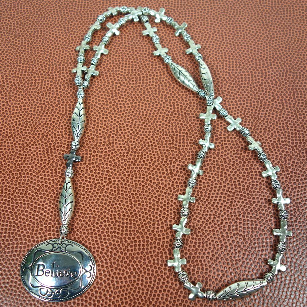 Believe Crosses Prayer Bead Necklace
