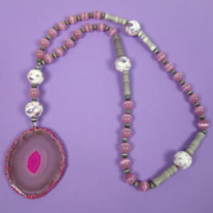 Pink Gray Agate Prayer Bead Necklace