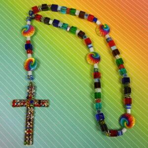 Millefiori Rainbow Cubes Prayer Beads