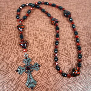 Red Black Hearts Prayer Bead Necklace